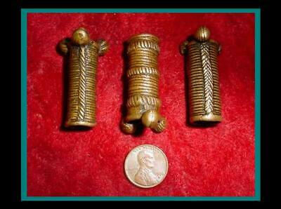 Three (3) ANTIQUE Hand Made BRONZE Hair Pipe ORNAMENT TUBE BEADS - Item eth-427