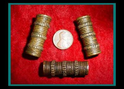 Three (3) ANTIQUE Hand Made BRONZE Hair Pipe ORNAMENT TUBE BEADS - Item eth-426