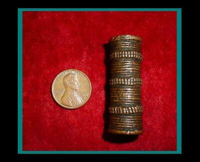 Large ANTIQUE Hand Made BRONZE Hair Pipe ORNAMENT TUBE BEAD - Item eth-433