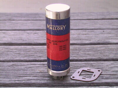 One NOS MALLORY FP 336 200/60/20UF 300/250/250/VDC Audio Can Capacitor