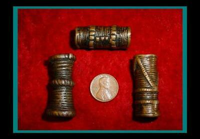 Three (3) ANTIQUE Hand Made BRONZE Hair Pipe ORNAMENT TUBE BEADS - Item eth-435