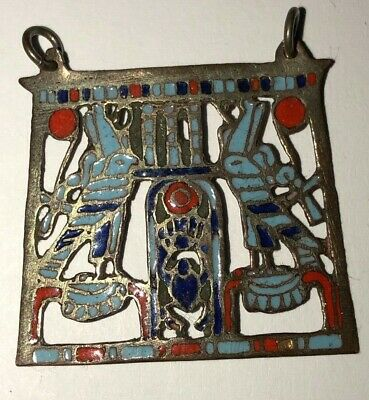 Egyptian Revival Enamelled Pendant Gorgeous Old Piece From the Past!