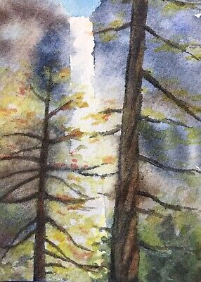 Original Watercolor Waterfall Forest Landscape Painting ACEO Art Card