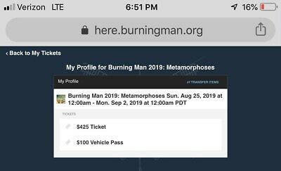 1  Burning Man 2019 Metamorphoses Vehicle Pass Electronic Transfer