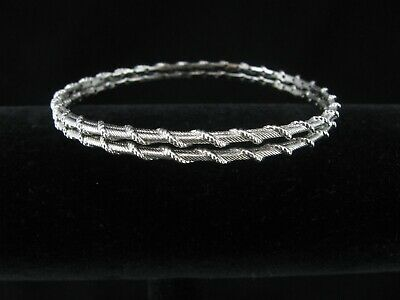 Judith Ripka Pair (Two) of Sterling Silver 925 Rope Bangle Bracelets