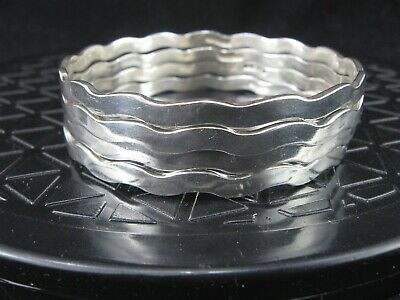 Mexico Sterling Silver 925 Matching Set of 4 Wavy Bangle Bracelets - 61.5 grams