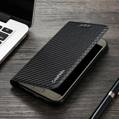 Carbon Fiber Leather Case For Samsung A20e 40 50 70 Magnetic Wallet Flip Cover