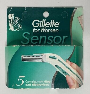 NEW Gillette For Women Sensor 5 Cartridges With Vitamin E and Aloe Vintage