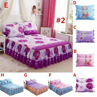 Elastic Bedspread Queen Size Dust Ruffle Bed Skirt Pillowcase Bedding Set HOT