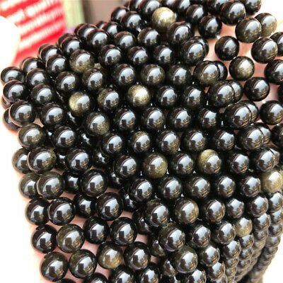 Natural Gold Obsidian Loose Beads Making Jewelry 15 inches Top Craft Accessories