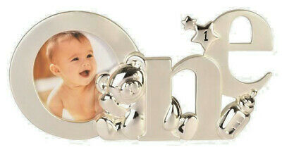 Silver Baby Girl Boy ~ My 1st First Birthday ~ Teddy Photo Picture Frame