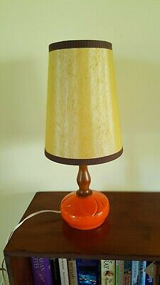 Retro Vintage Orange & Teak Ceramic Table Lamp
