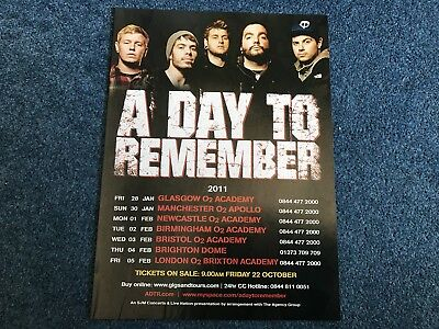A Day To Remember 2011 Tour Advertisement Poster - Kerrang!