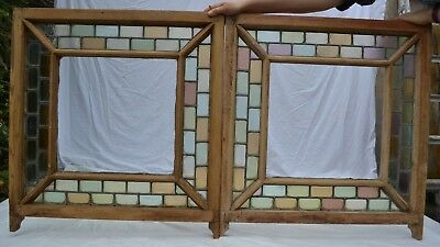 2 British leaded light stained glass window sashes. R816.