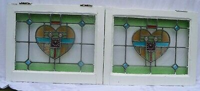 2 leaded light stained glass window sash fanlights or suncatchers. R955e