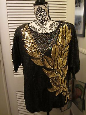 Vintage Pure Silk  Beads & Sequences Top For Evening Wear Gold & Blue Black