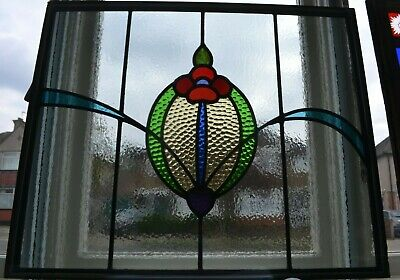 Traditional leaded light stained glass window fanlight - DOUBLE GLAZED. R917h