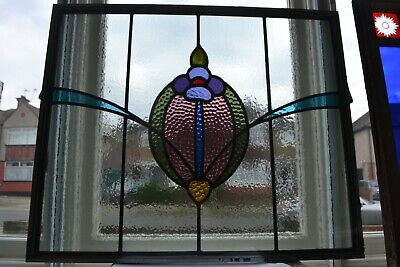 Traditional leaded light stained glass window fanlight - DOUBLE GLAZED. R917g