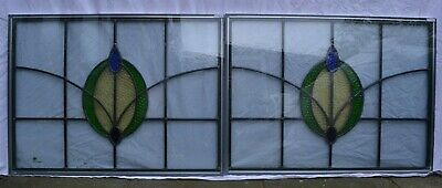 2 traditional leaded light stained glass window fanlights - DOUBLE GLAZED. R917e