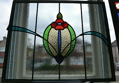 Traditional leaded light stained glass window fanlight - DOUBLE GLAZED. R917i