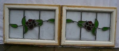 2 leaded light stained glass window sashes / fanlights / suncatchers. R873e.