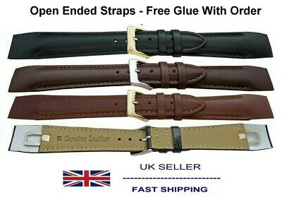 Leather Watch Strap With Open Ends For Fixed Lug 8mm to 20mm Sizes