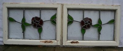 2 leaded light stained glass window sashes/ fanlights / suncatchers. R873f.