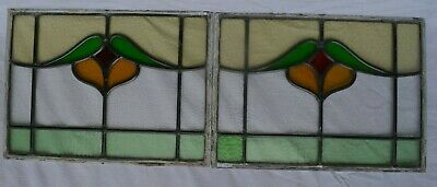 2 leaded light stained glass window panels sash fanlights or suncatchers. R961c
