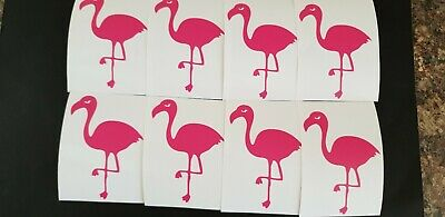 20 x Pink Flamingos 7cms by 5cms Vinyl Decal Stickers Glasses Crafts F.P