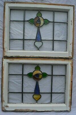 2 leaded light stained glass window sashes fanlights suncatchers. R793a.