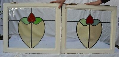 2 leaded light stained glass window sashes fanlights suncatchers. R474