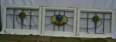 3 leaded light stained glass window sashes/ fanlights or suncatchers. R963b