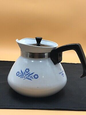 Vintage Corning Ware 6 cup P-104 Cornflower Coffee Tea Pot