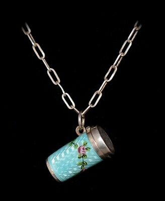 BEAUTIFUL Antique FRENCH Blue *STERLING ENAMEL GUILLOCHE* Locket/CASE NECKLACE