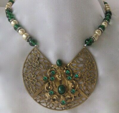 Fabulous French Green Glass & Baroque Glass Pearls Antique Brass Necklace