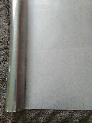 4mts Silver Swirl Cellophane for gift wrapping & 4mts curling ribbon