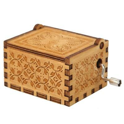 Retro Wooden Hand Cranked Music Box Home Crafts Ornaments Children Gifts C#P5