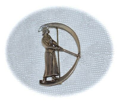 Fabulous Antique *Victorian* ~STERLING SILVER~ *Lady GOLFER* ~Brooch~