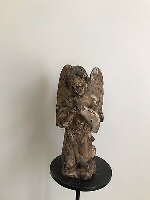 Rare Antique 17th / 18th Century praying carved wooden gilded angel