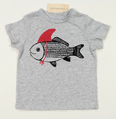 First Impressions New Toddler Boys Fish Print Grey T Shirt Tee 24 M
