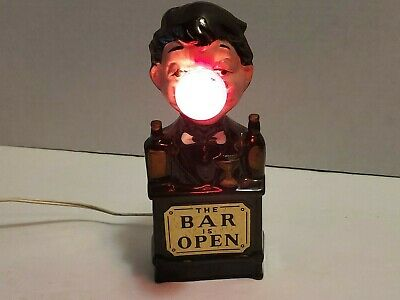 Vintage The Bar Is Open Ceramic Bartender Red Nose Light Lamp Bulb WORKS