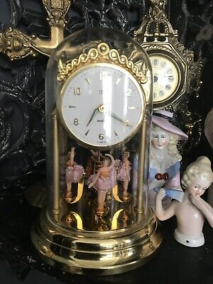 Vintage 1950's CSM Jewelled Dancing Ballerina Domed Mantle clock Fully Working