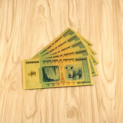 10pcs Gold Foil Zimbabwe 100 Quintillion Dollars Banknote For Money Collect Gift