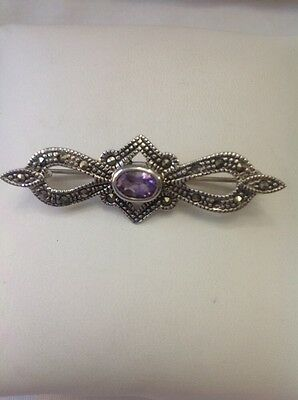 Antique 925 Sterling Silver Marcasite Amethyst Brooch Pendant Combo - Mint Estat