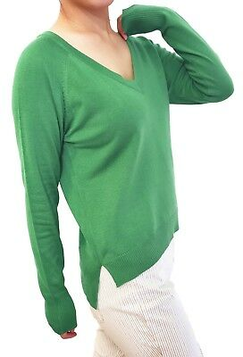 Women Pullover Sweater Top Jumper Soft Knit V Neck Fitted Cardigan