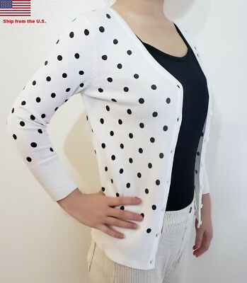 Fitted Women White Bubble Dot Cardigan Soft Knit 3/4 Sleeve V-Neck Sweater