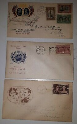 """Rare Set Of 3 First Day Covers """"King George Vi & Queen Elizabeth"""""""
