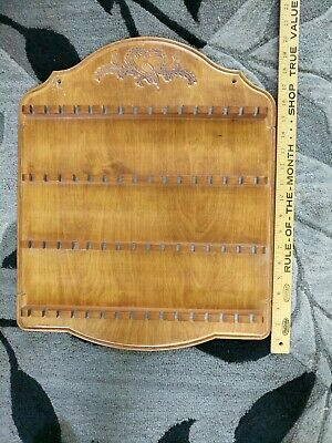 Vintage Wooden Wood Souvenir Spoon Collector Wall Rack Display Holds 64 Spoons