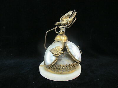 Antique 19c French VICTORIAN Gilt ORMOLU & Mother of Pearl BIRD Dinner Bell
