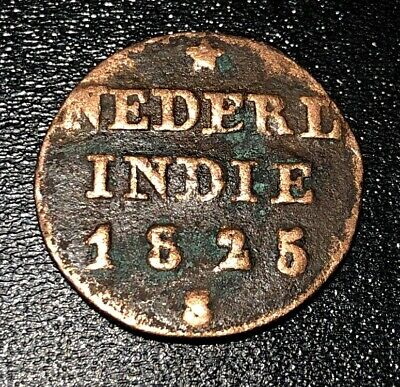 1825 S Netherlands East Indies 1/4 S Stuiver Rare Foreign Coin